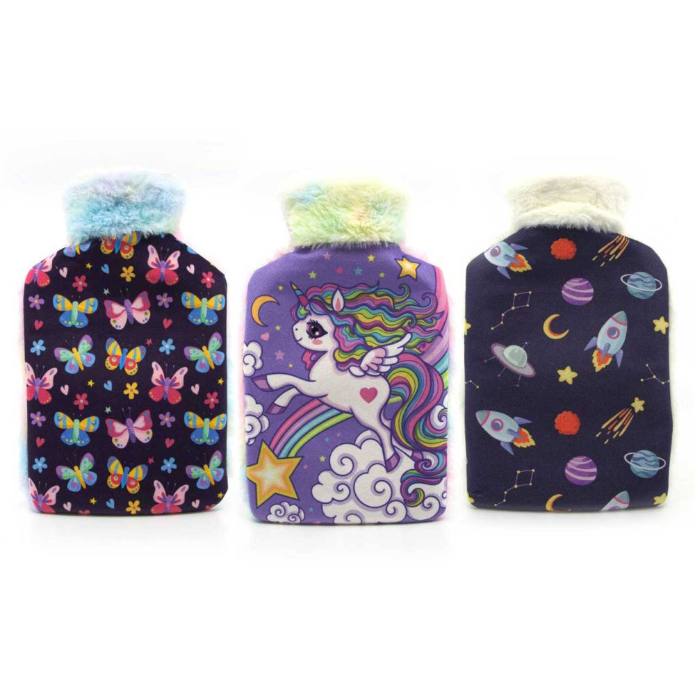KIDS UNICORN BUTTERFLY ROCKET HOT WATER BOTTLE