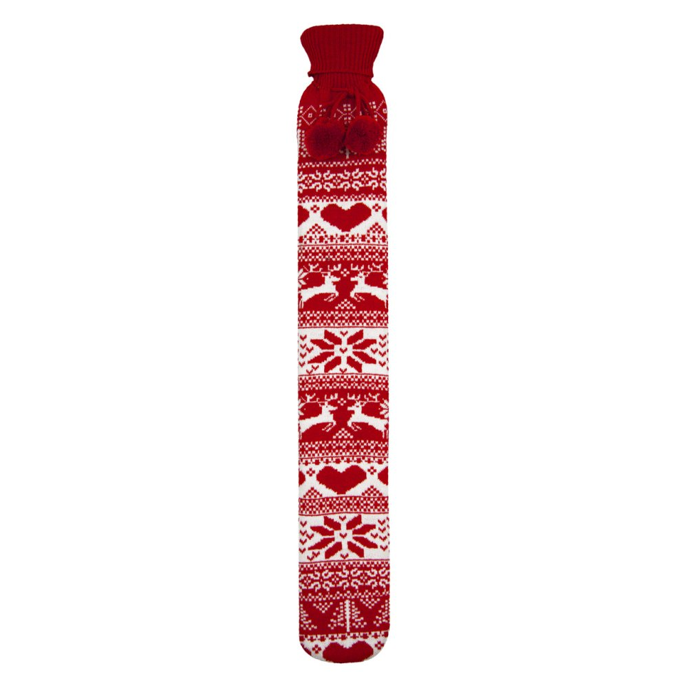 LONG HOT WATER BOTTLE RED KNITTED NORDIC