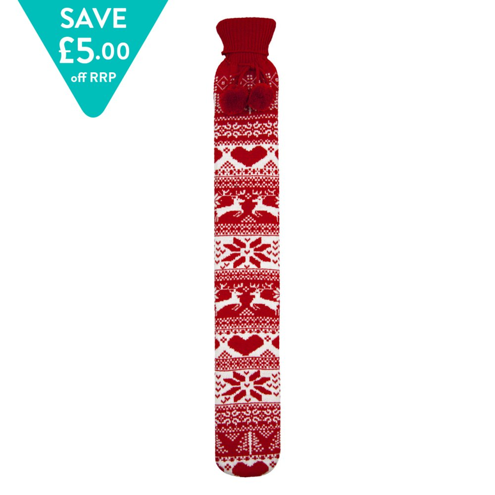 LONG HOT WATER BOTTLE NORDIC KNIT RED
