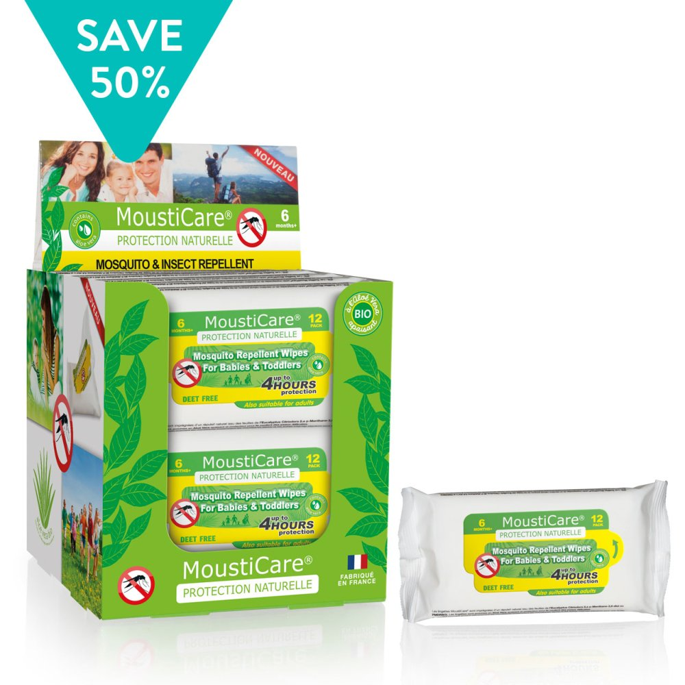 MOSQUITO & INSECT REPELLENT BABY WIPES 12 PACK